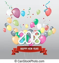 2018 happy year with balloons