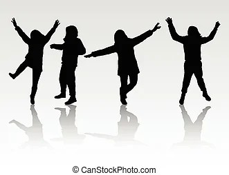 Happy people silhouettes Vector illustration of danccing