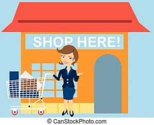 Cartoon happy shopper girl Cartoon shopper girl jump excitedly while carrying a lot of shopping bags
