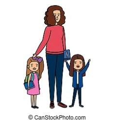 teacher female vector clip clipart happy students illustration illustrations