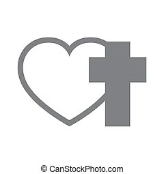Download Heart and christian cross. vector illustration. Christian ...
