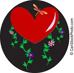 Download Dragonfly with hearts. Original illustration clip art of a ...