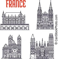 Historic buildings and sightseeings of france. Historic