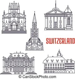 Historic buildings and sightseeings of switzerland