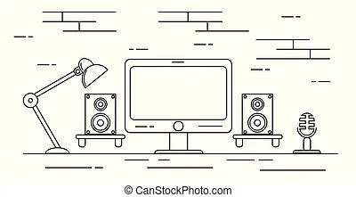 Home recording studio equipment . Group of recording and