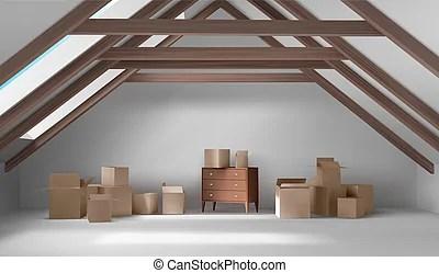 attic vector interior clip clipart mansard room boxes illustrations