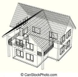 Wireframe building over blueprint. Eps 8 vector illustration.