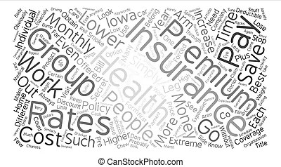 Health insurance word cloud concept in red caps with great