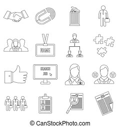 Human resource management icons. Simple vector icons