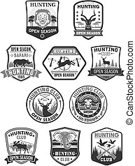 Hunting club icons hunt adventure hunter gun rifle open