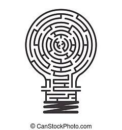 Light bulb maze. Illustration of a complex maze of ideas