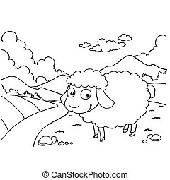 easter lamb. coloring page. Easter lamb on the meadow