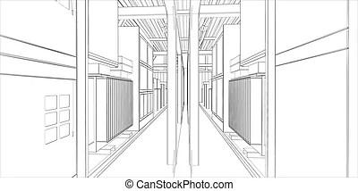 Industrial equipment. wire-frame 3d render. vector format.