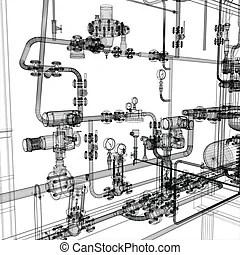 Industrial equipment Vector Clip Art Illustrations