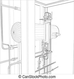Industrial equipment. wire-frame vector. Wire-frame