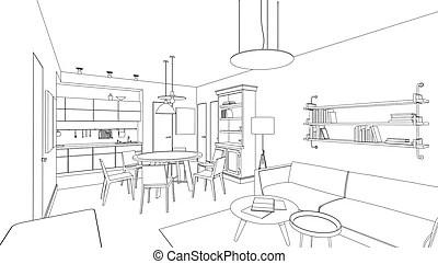 Office furniture line symbols for architectural plans. set