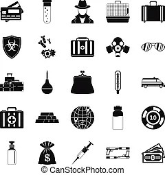 Investigation icons. Collection of police equipment and