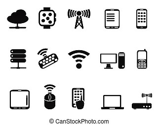 Mobile devices , computer and network connections icons