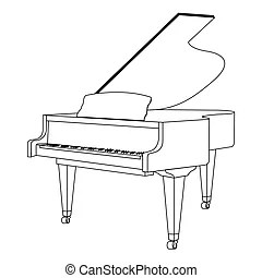 Isolated piano outline. Isolated outline of a piano