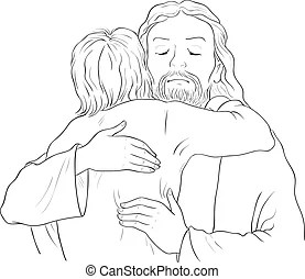 Black and white jesus with children. Black and white