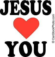 Download I love jesus. Religious words isolated on white.
