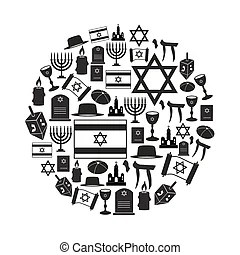 Set of jewish religious holiday vector symbols.