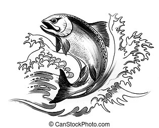 Salmon jumping. A stylization of the great salmon