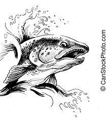 Salmon jumping. A stylization of the great salmon