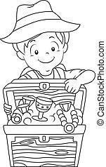 Treasure hunt boy. Illustration of a boy in camping gear