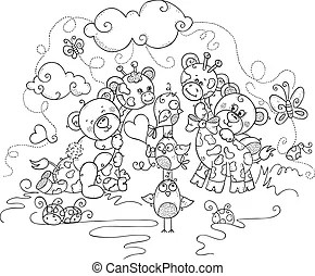 Cute clouds coloring page. Cute cloud coloring book page