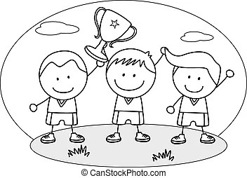 Boy winner coloring page. Black and white cartoon
