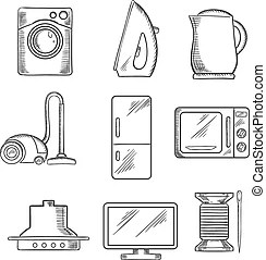 Home appliance icons set with on oven, telephone