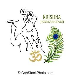 Krishna Line Art Illustration