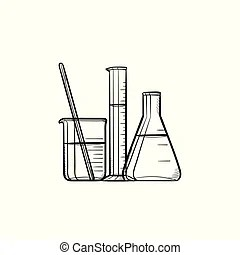Laboratory equipment, chemistry analytical concept, filled