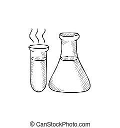 Science lab equipment sketch. Doodle style science