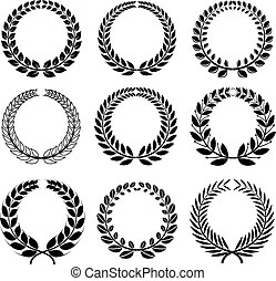 Vector wreaths and banner set. Set of vector wreaths and