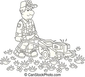 Outlined lawn mower. Coloring page outline of lawn mower