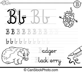 B for bee. Cartoon illustration of b letter for bee.