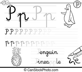 Learn to write letter m. Black and white cartoon