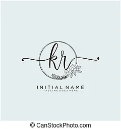 Kr letter logo icon design template elements. Letter logo