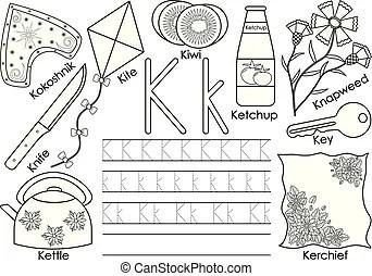Letter k. english alphabet. writing practice. education