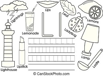 Lemon illustration for coloring book. Black and white