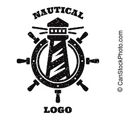 Nautical emblem with a lighthouse. Nautical or marine
