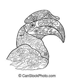rhinoceros cartoon coloring page. Black and white cartoon
