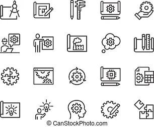 Line engineering icons. Simple set of engineering flat