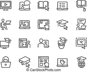 Line school subjects icons. Simple set of school subjects