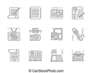Frame of of flat colorful vector journalism icons. mass