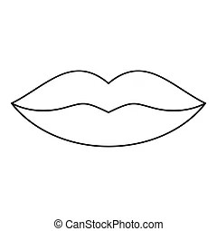 Lips simple icon. Black silhouette of lips. mouth icon