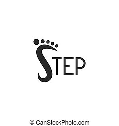 Step icons. footprint shoes symbols. Step by step icons