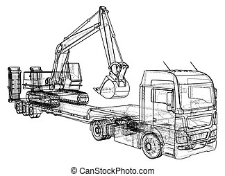 Vector low poly excavators and haul truck. Vector low poly